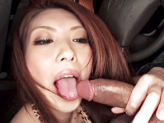 Horny Rinka steams up the windows in a car sucking a cock